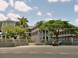 The Government House, a beautiful French-colonial architecture located at Place d' Armes in Port Louis.