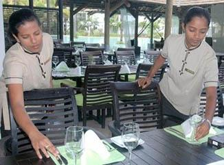 Employment - Ladies working in the hotel industry in Mauritius Island.